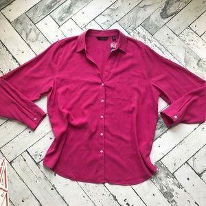 NWT Pink 100% Silk Linen Top Sz XL