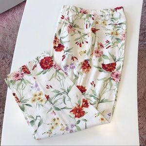 Susan Bristol Cream Linen Floral Pants