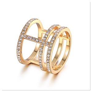 Gold Cuff Ring with Swarovski Crystals