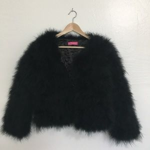 Jackets & Blazers - black feather statement coat
