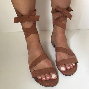 Shoes - 2 left!! Vegan Suede Wrap Flat Sandal