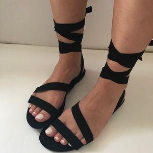 Shoes - Vegan Suede Wrap Flat Sandal