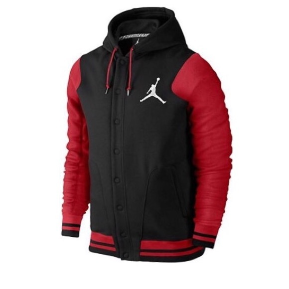 d67d9e6710a1 Red and black Michael Jordan varsity jacket hoodie
