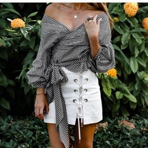Tops - 🆕 Just in! Gingham Big Bow Puffy Sleeve Top