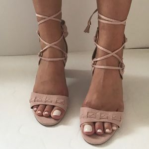 Shoes - 1 left!! PRICE FIRM Wrap Ankle Circle Block Heel