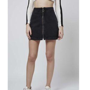 NWT Topshop zip up dark blue wash denim skirt