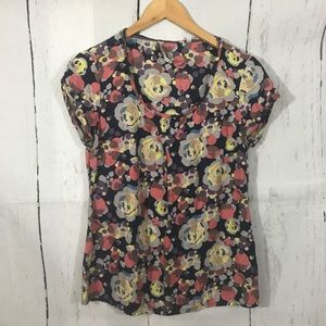  BODEN FLORAL PRINTED SHORT SLEEVE TOP B8