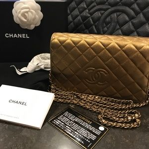 Chanel Gold Lamb Skin Wallet On Chain WOC
