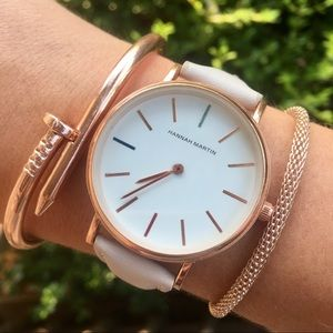 Minimalist Rose Gold & Pink Luxury Leather Watch