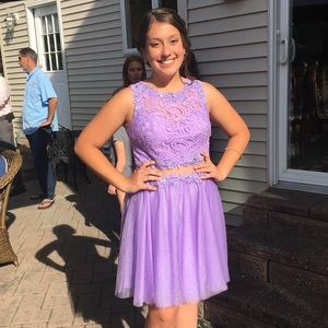 Lilac short prom dress