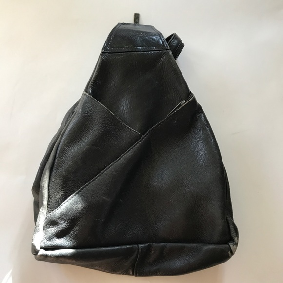 Handbags - Black leather backpack purse