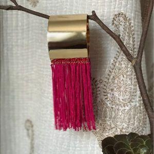 Jewelry - Tassel gold adjustable cuff hot pink BR1