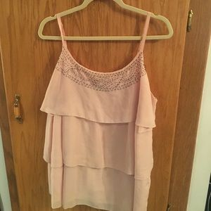 Pink sheer top with silver beading