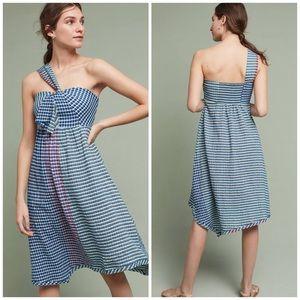 Anthropologie Maeve One Shoulder Plaid Dress