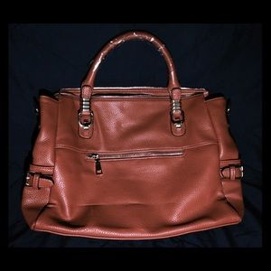 Manmade Leather Brown Shoulder Bag