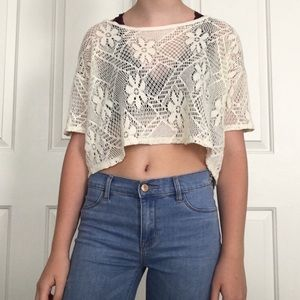 Hollister Off-White Lace Flower Top