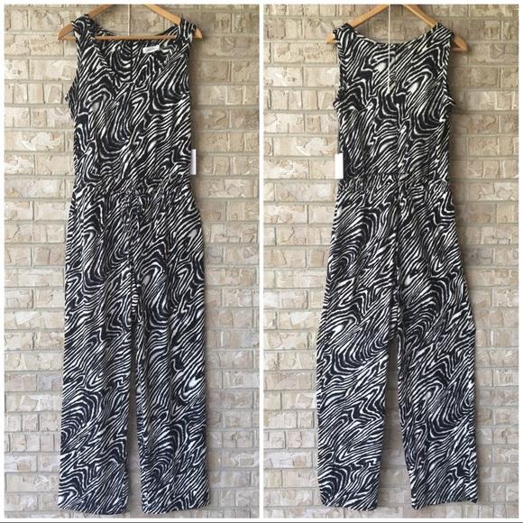 836a5d703640 NWT Calvin Klein Jumpsuit Black White Zebra Size 8