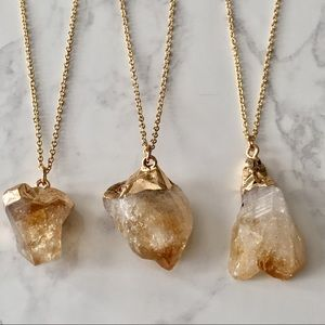 Citrine Raw Crystal Necklace Gold Delicate Chain