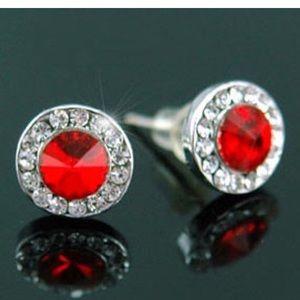 Red Classic Stud Earrings
