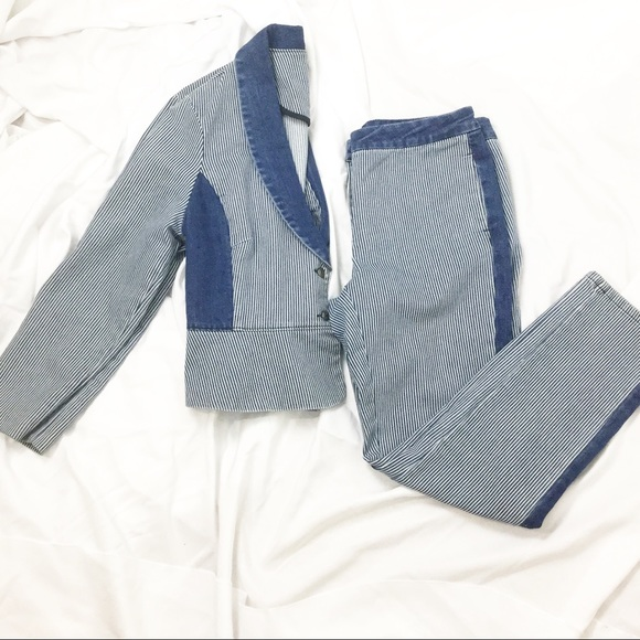 I Heart Ronson Denim - Striped Blue & White Denim Suit Set