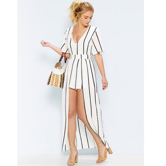 8dbd8d2e457 Dresses   Skirts - white stripe romper shorts maxi skirt