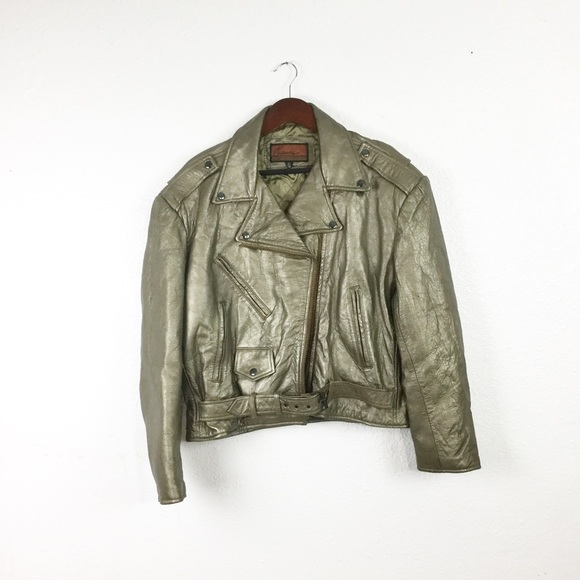 Vintage Jackets & Blazers - Vintage Gold Leather Moto Jacket