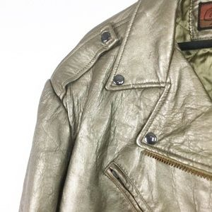 Vintage Jackets & Coats - Vintage Gold Leather Moto Jacket