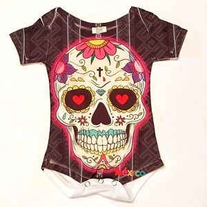 Mexican Sugar Skull Onesie Baby Day of the Dead