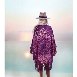 Pink and purple bohemian fringe kimono cover up