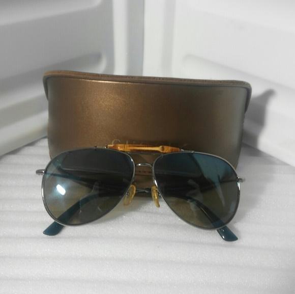 3320e09199598 Gucci Accessories - GUCCI 2235 Silver and Bamboo Aviators Italy