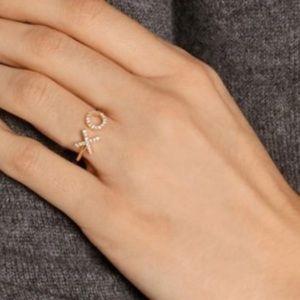 Rhinestone XO  Cuff Ring