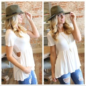 Tops - ✨RESTOCKED✨Ivory short sleeve bandeau look  tunic