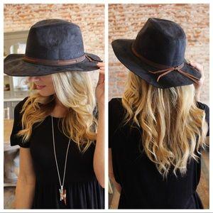 Black Vegan Suede leather trim hat