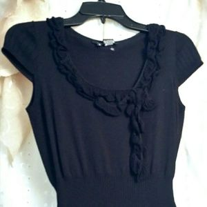 Black knit top with hugger ribbed waist NWOT