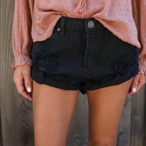Pants - Black cutoff shorts