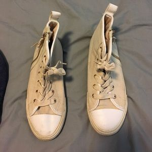 Aldo cream high tops w gold zippers