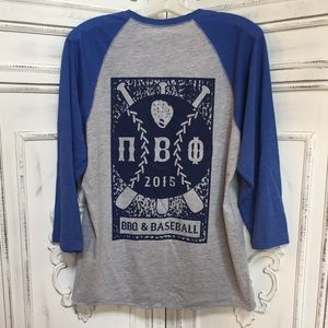 Tops - NEW UNC Pi Beta Phi Blue and Gray Baseball Shirt