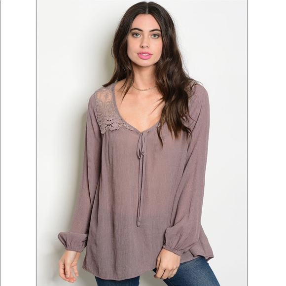 4c0af08bac1 Tops | Dark Lilac Tunic Top With Lace Detail | Poshmark