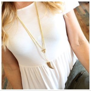 Gold  horn double layered necklace