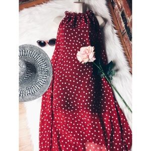 Polka Dot R&W Boho Romantic Maxi Long Dress M