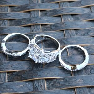 Jewelry - 3 piece 18K White Gold Plated Ring Set