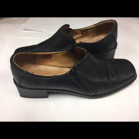 JOSEF SEIBEL BLACK SLIP ON LOAFER SIDE ZIP SHOES 9