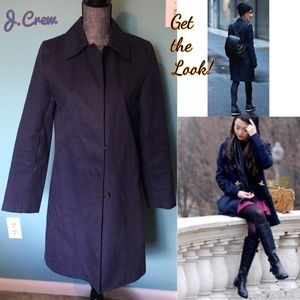 J. Crew Trench Coat Rain Navy Blue Medium