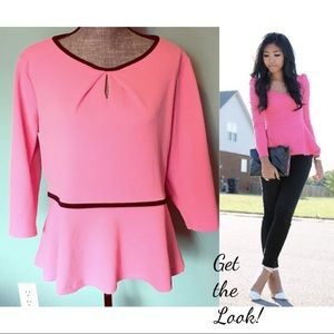 ELLE Pink Peplum Top with Black Trim Stretchy XL