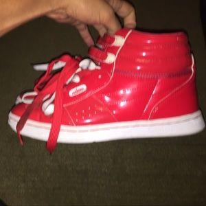 punkrose Shoes - Red punkrose hightop sneakers, W8.5