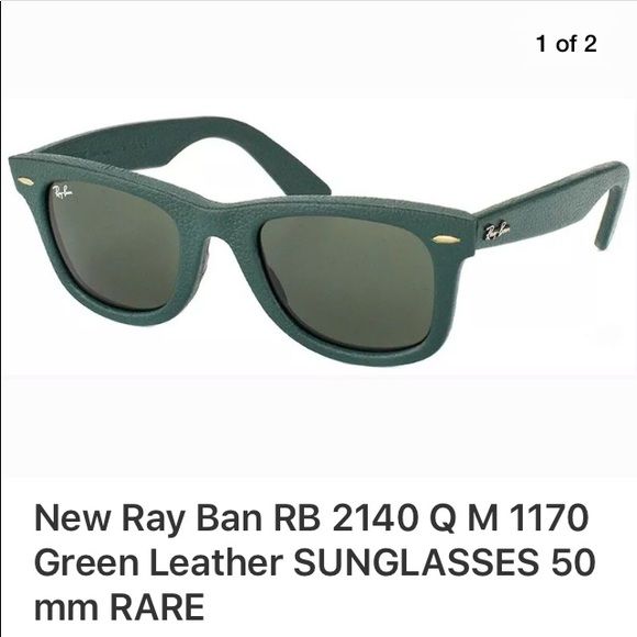 7a3b40afd ... low price ray ban rb 2140 q m 1170 green leather sunglasses 1383b b416d