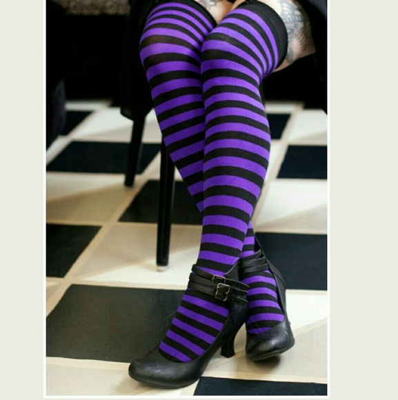 One-Size Black Purple Leg Avenue Opaque Striped Nylon Stocking Thigh-Highs
