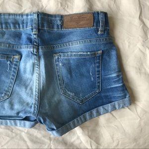 Zara Distressed Denim Jeans Shorts
