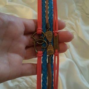🎃💕🆕💕 2/$15 Owl Infinity Heart Braided Wrist Bracelet🛍🎃