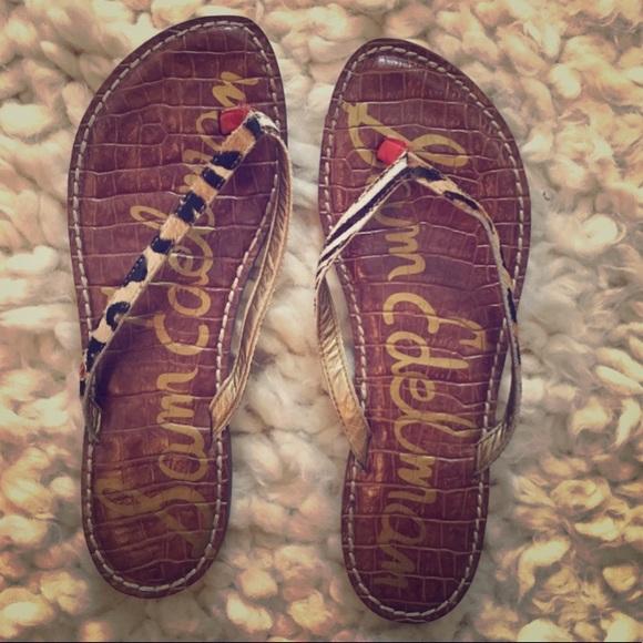 a4ae35d21956d4 Sam Edelman Shoes - Gracie Animal-Print Calf Hair Thong Sandal